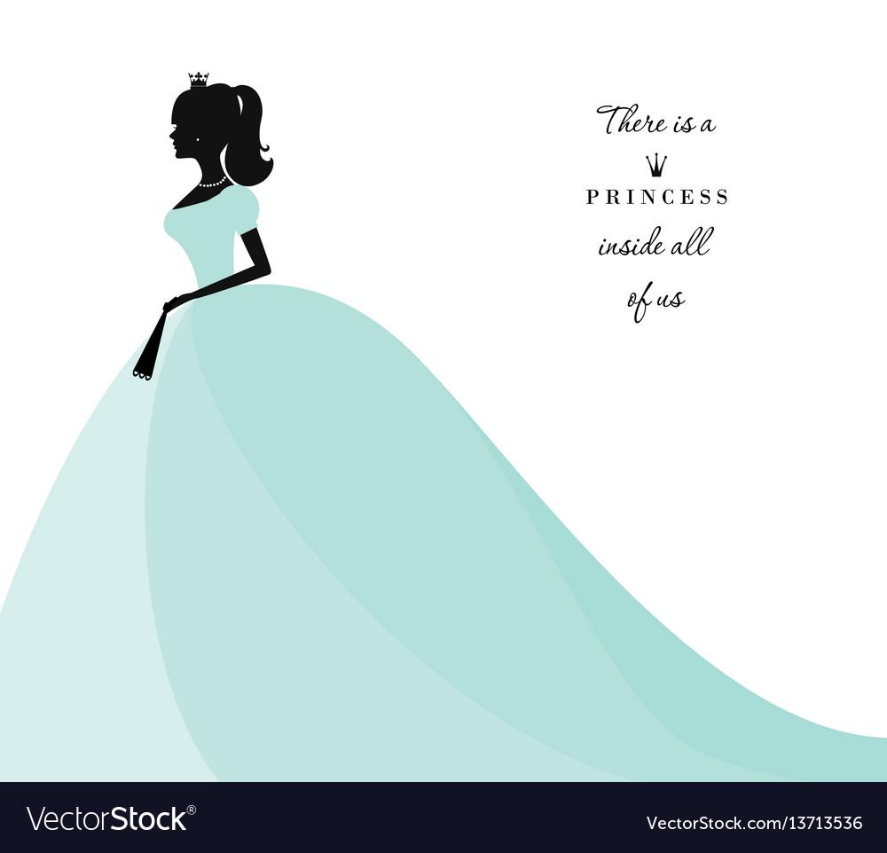 Beautiful princess silhouette in pastel blue dress