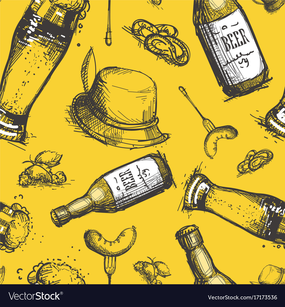 Beer bottle seamless pattern oktoberfest festival