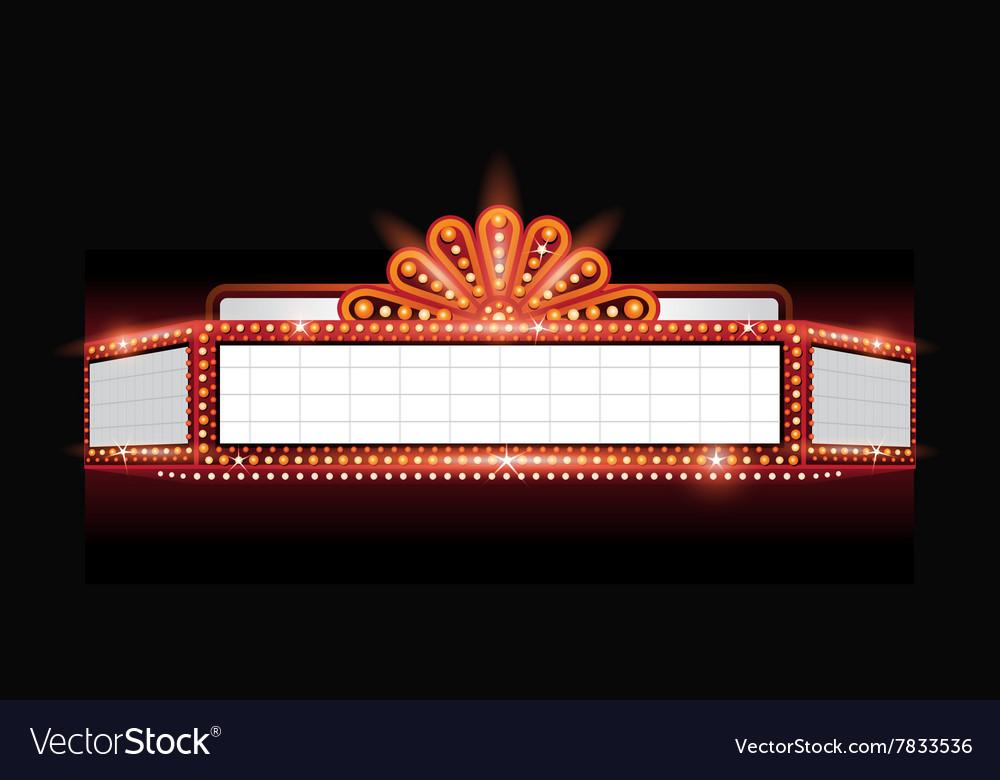 Brightly theater glowing retro cinema neon
