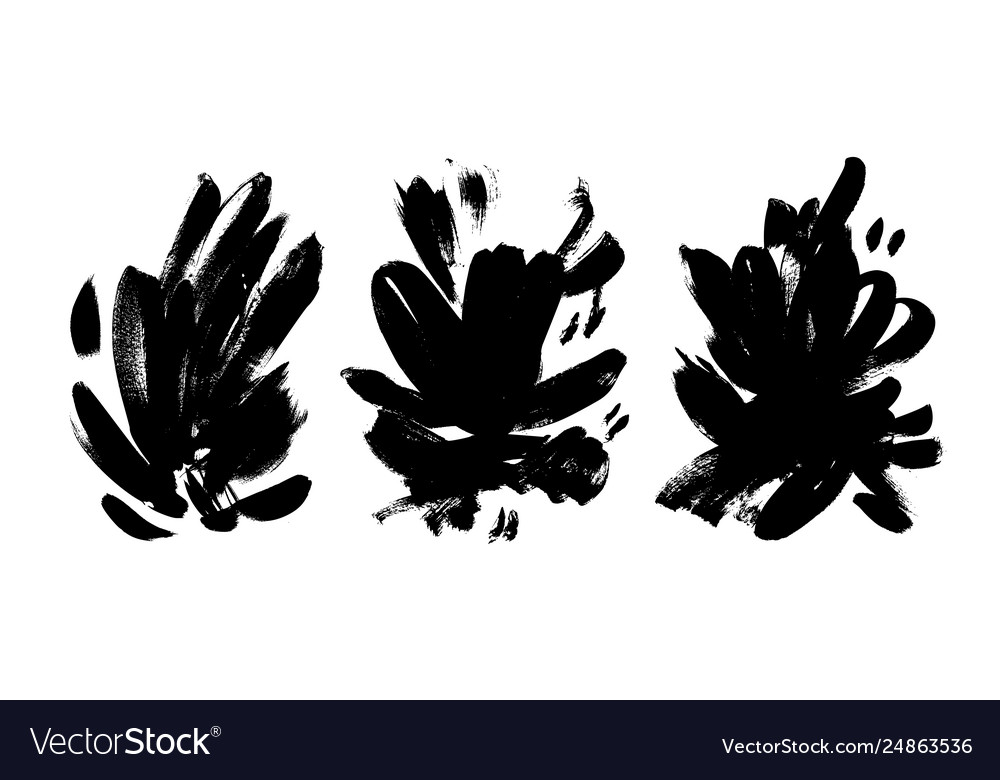 Collection black brushstrokes