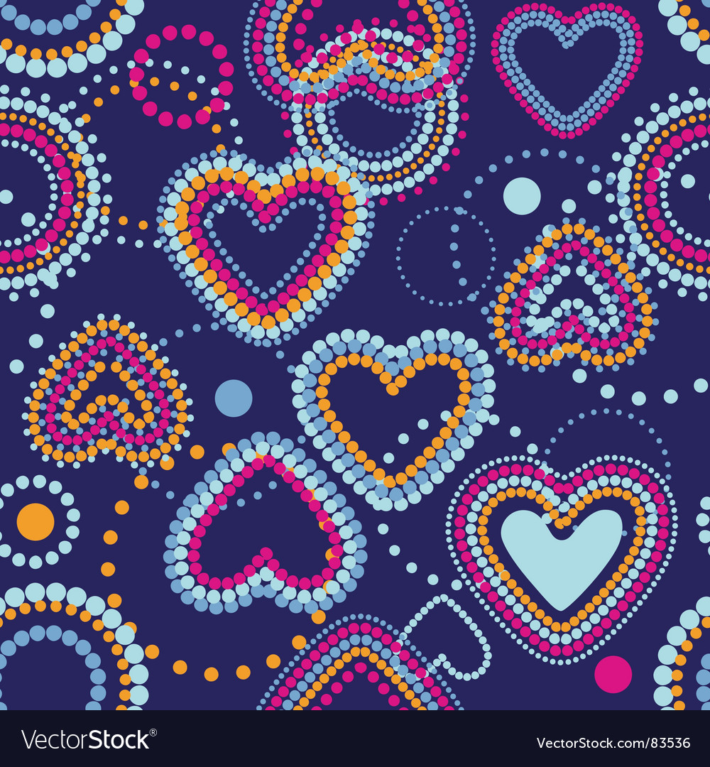 Dotty hearts seamless wallpaper vector image