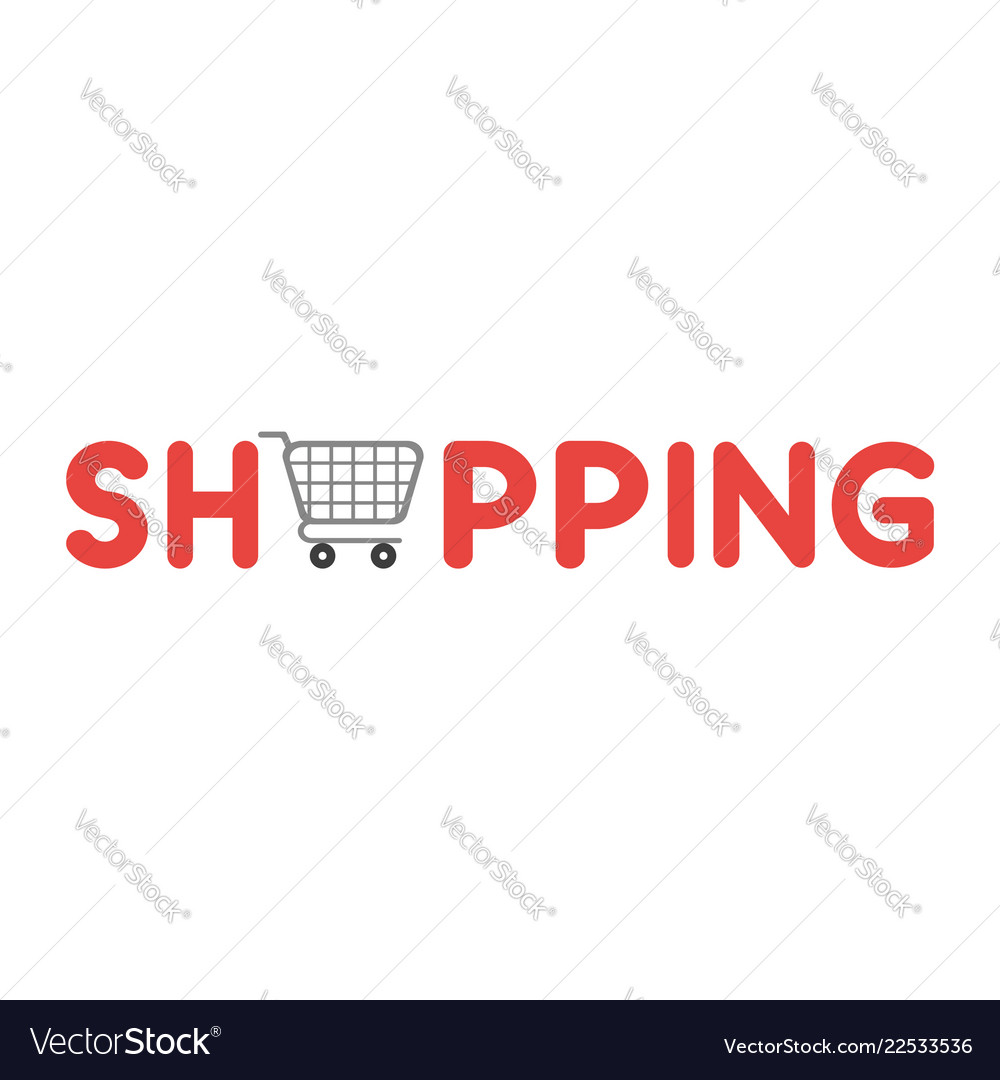 Icon concept of shopping word with shopping cart