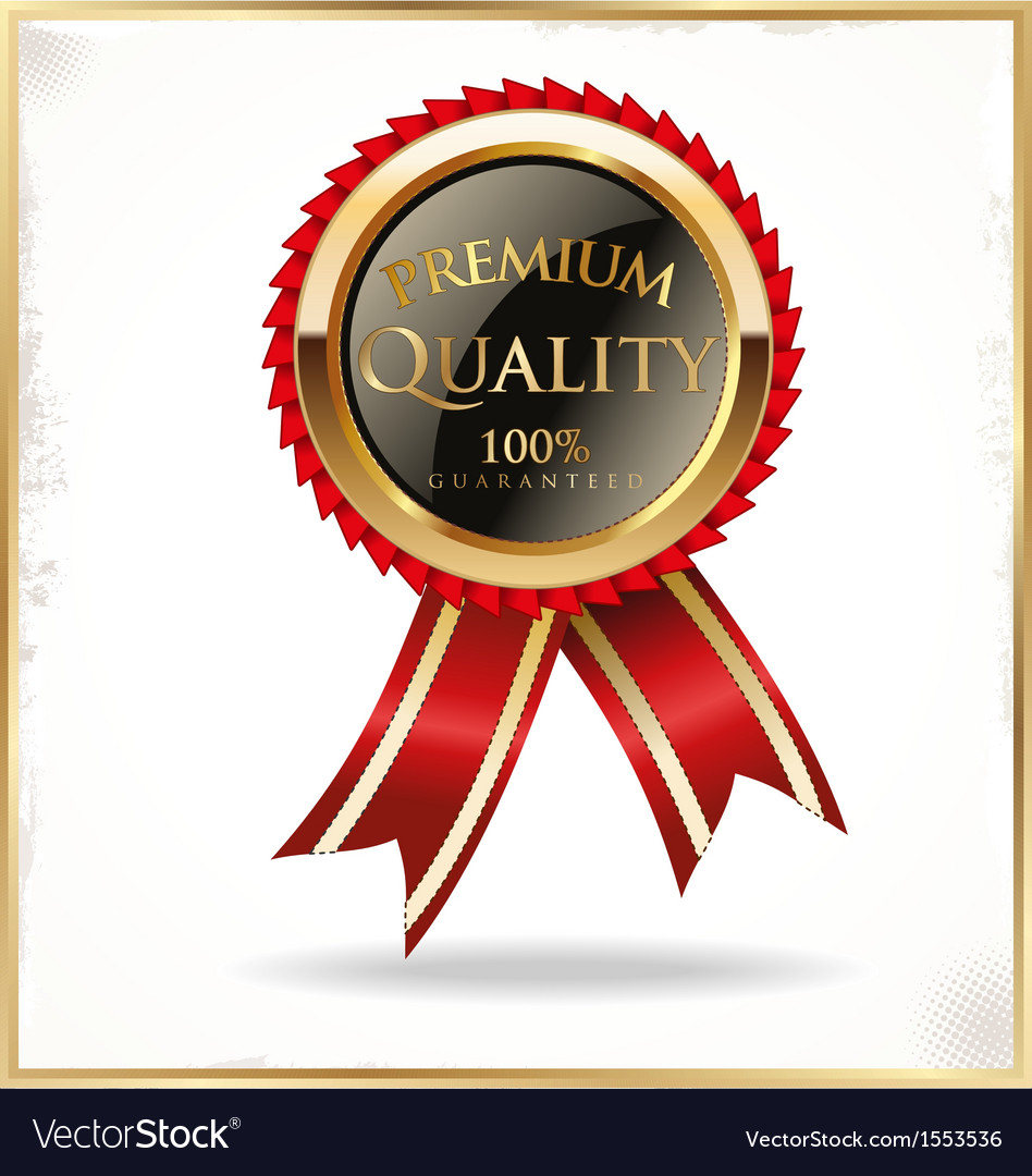 Premium quality black and gold label vector image