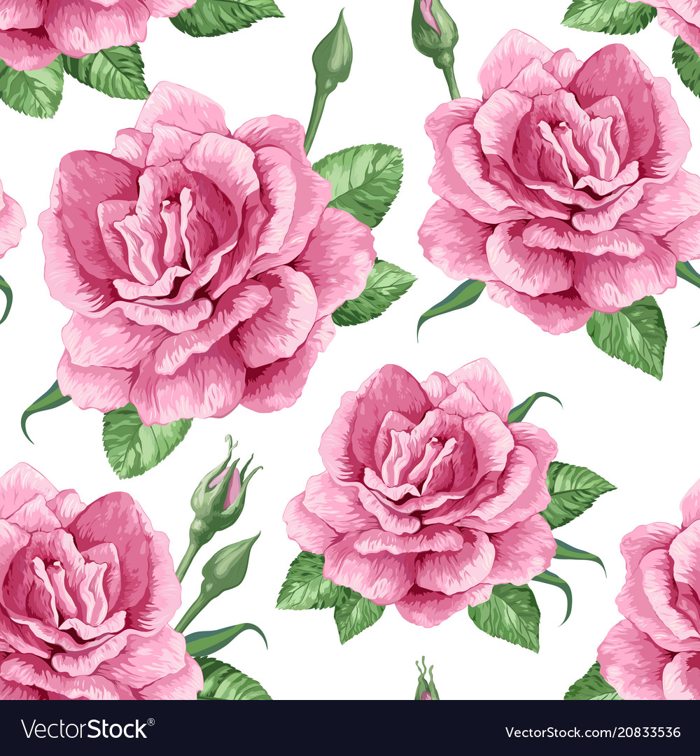 Rose flowers petals and leaves in watercolor