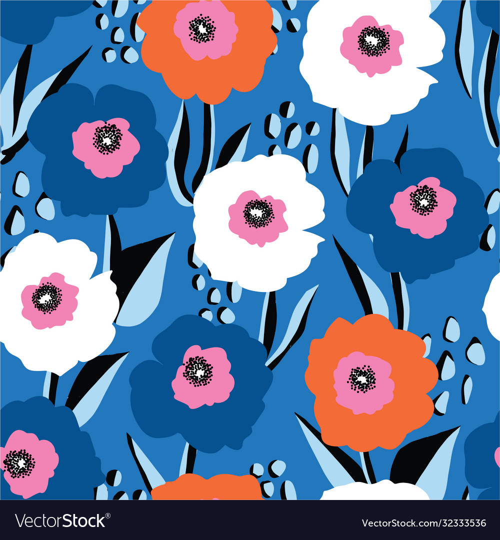 Seamless pattern large red white and blue