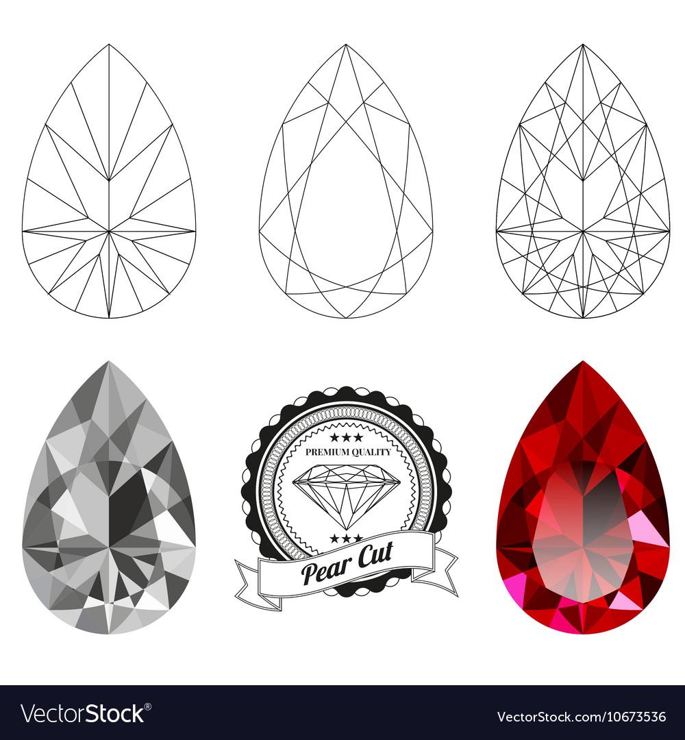 Set of pear cut jewel views