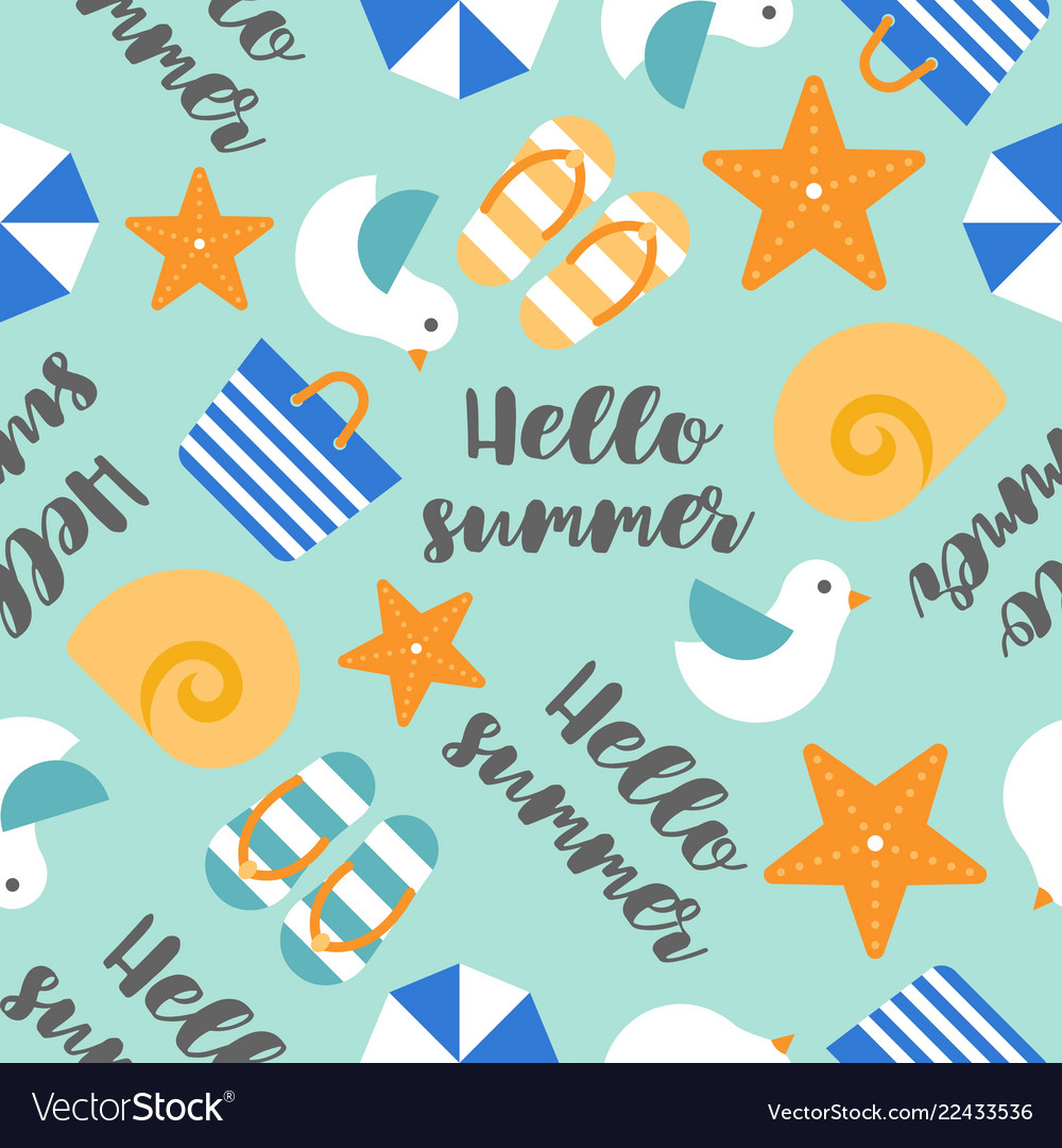 Summer theme seamless pattern with hello summer