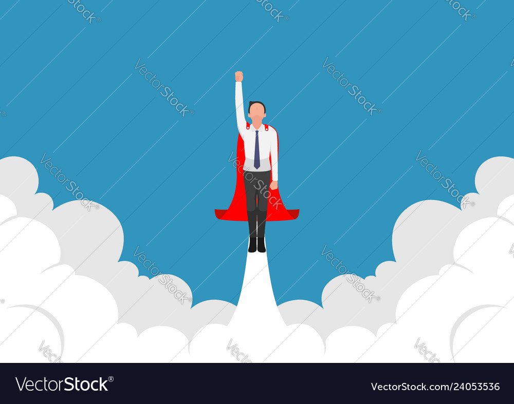 Super businessman flying up from cloud
