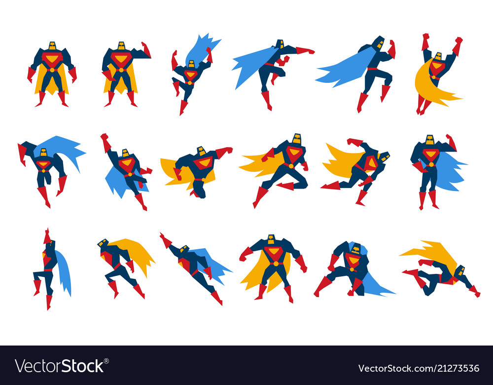 Superheroes characters set man wearing colorful