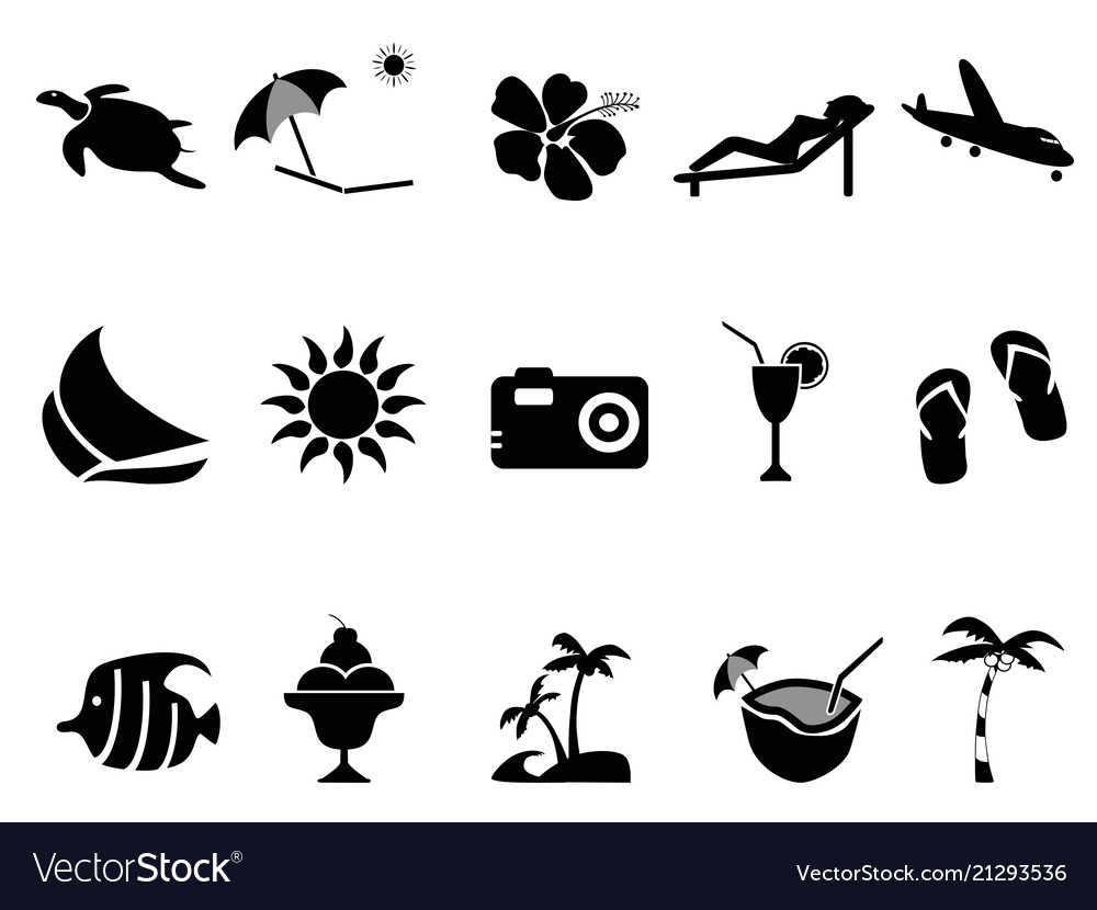 Tropical island vacation icons set