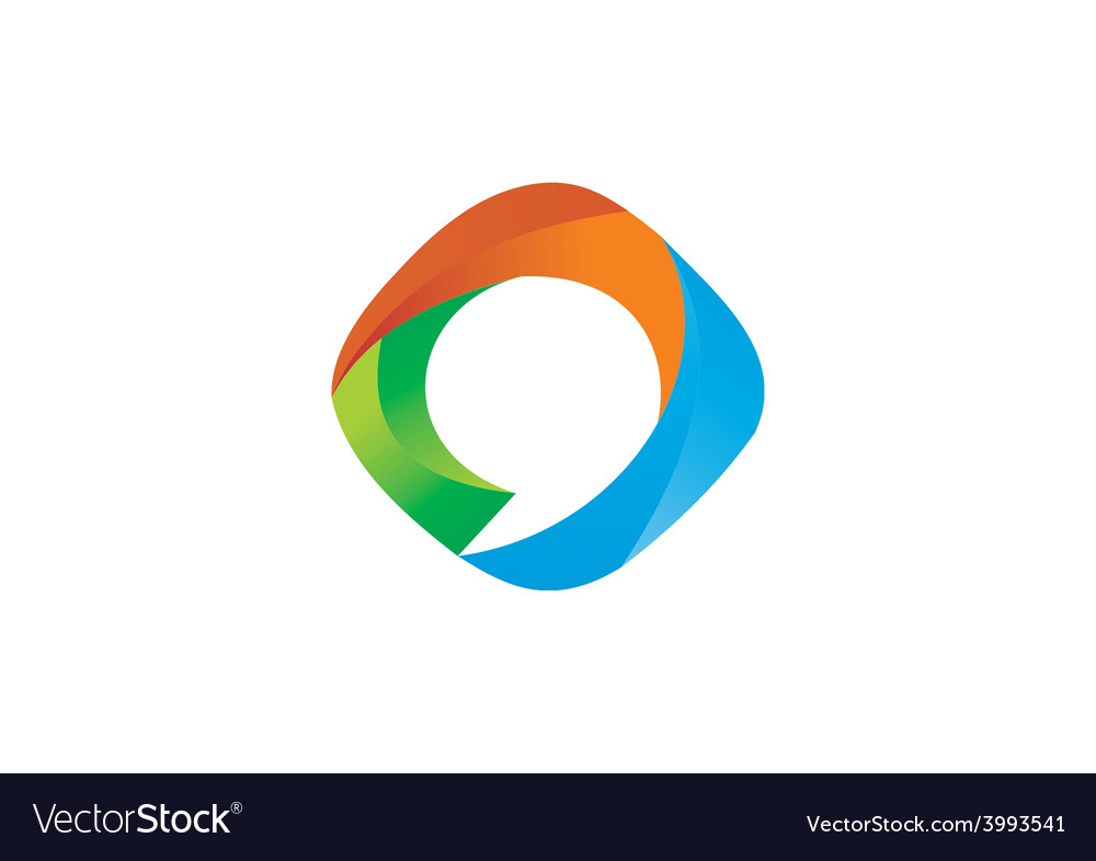 3D abstract circle round bubble talk logo vector image