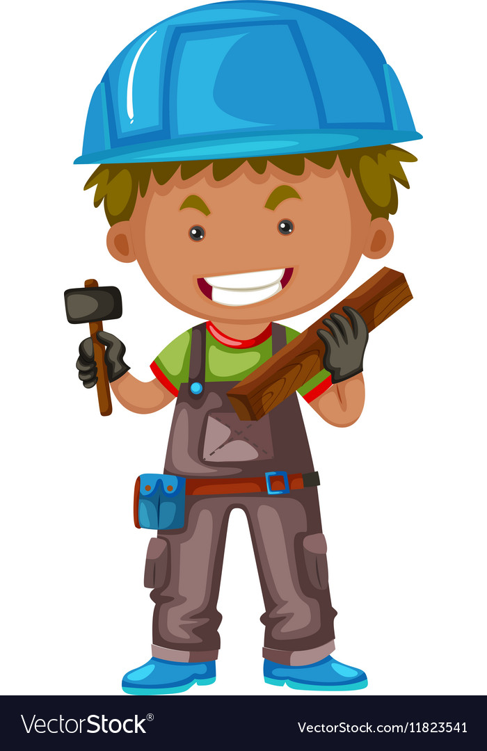 Carpenter with hammer and wood