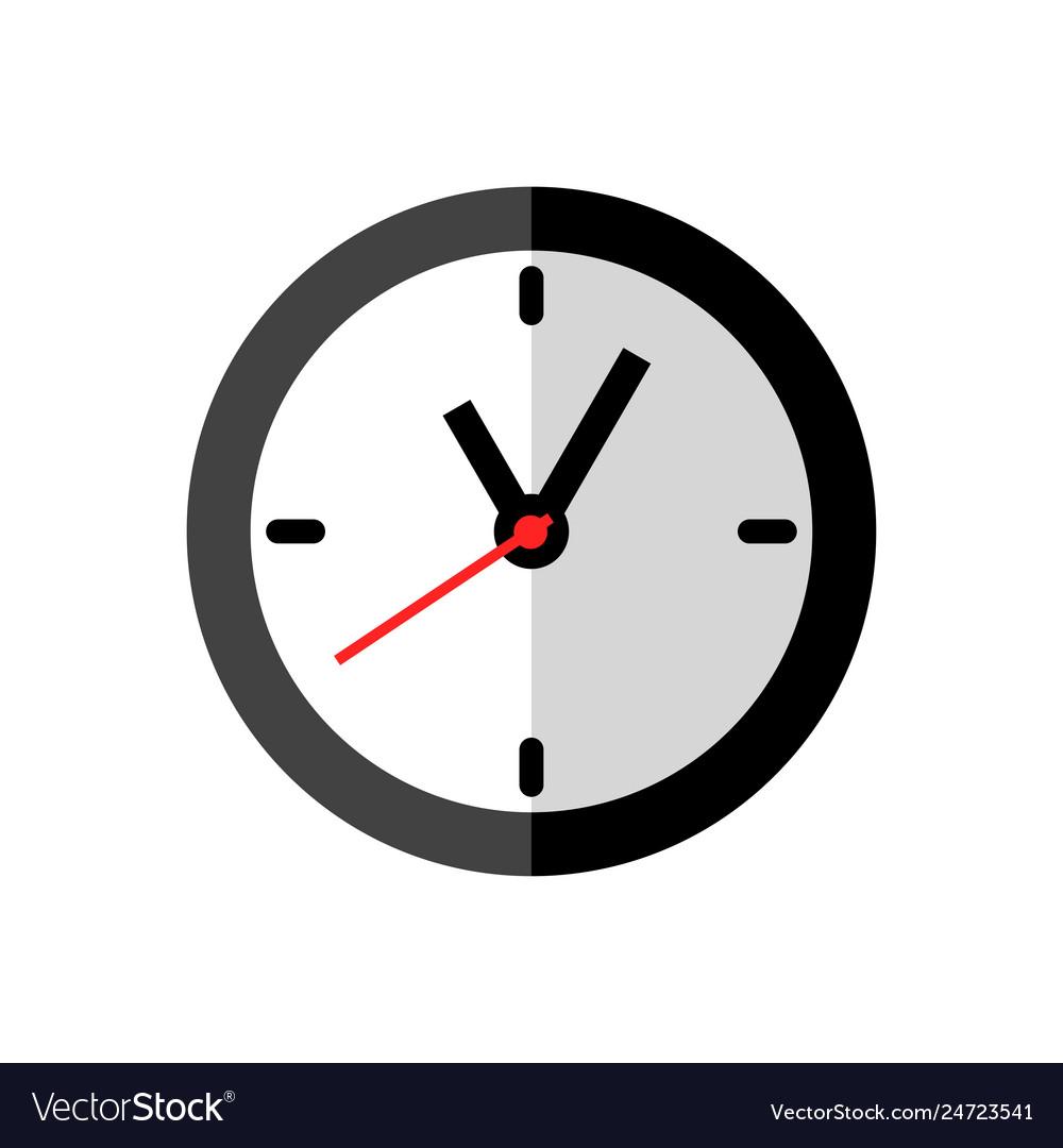 Clock icon design on white background flat style