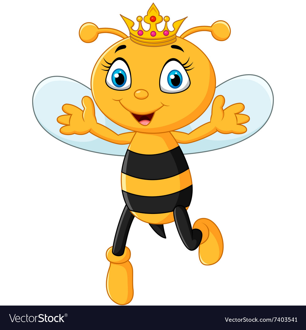 Cute queen bee hands up isolated