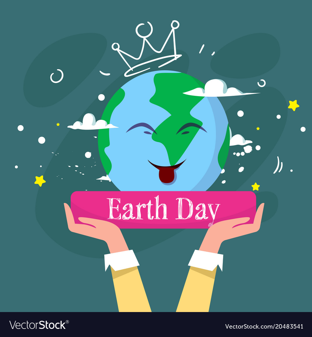 Happy Earth Day Cute Greeting Card With Hand Vector Image