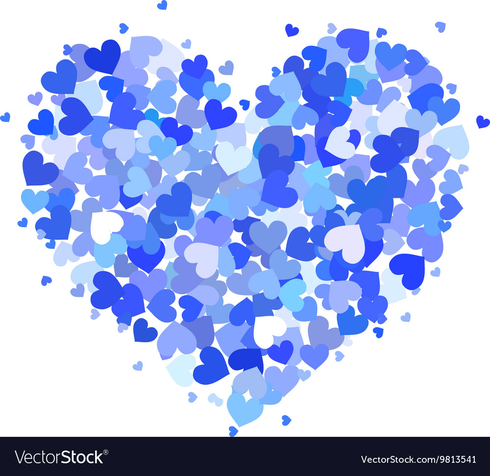 Heart made up of little blue hearts isolated on vector