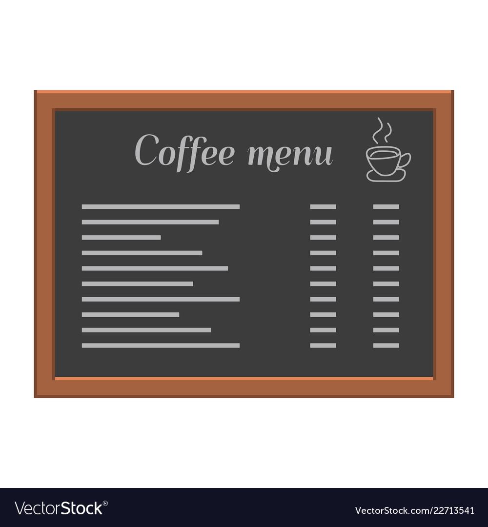 Menu board at a restaurant or cafe wooden frame