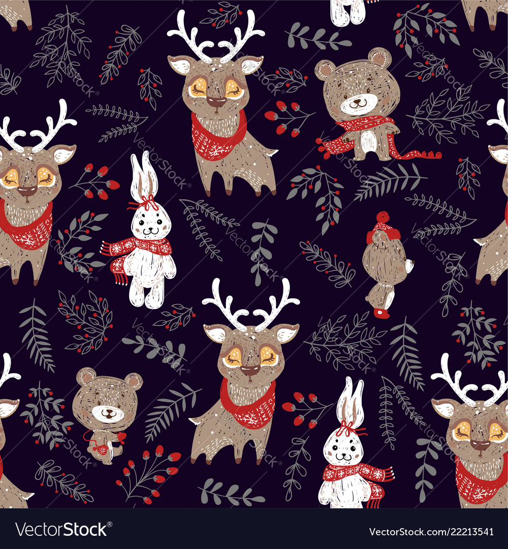 Seamless pattern with cute bunny deer and bear in