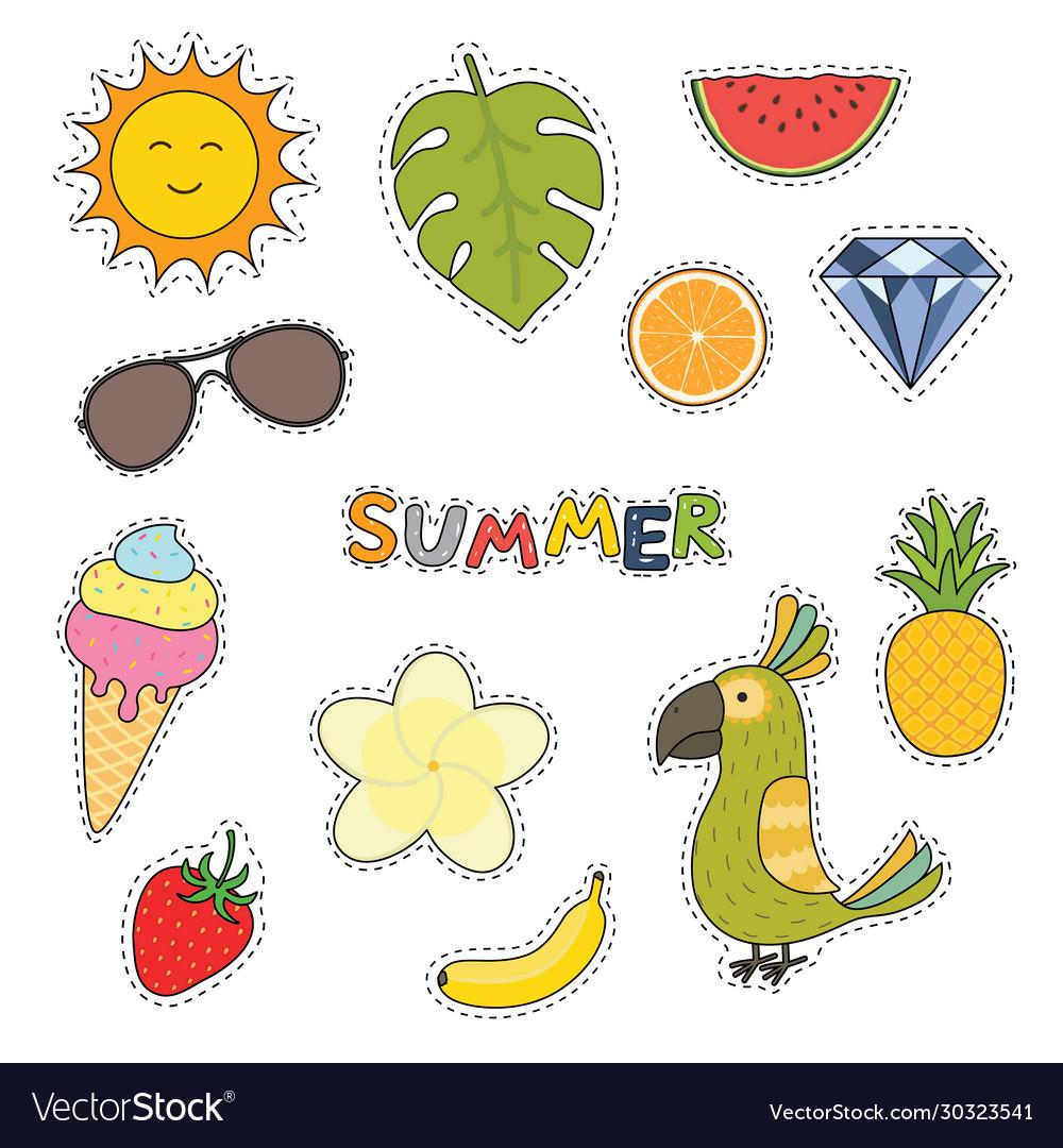 Set cute summer stickers flower fruits parrot