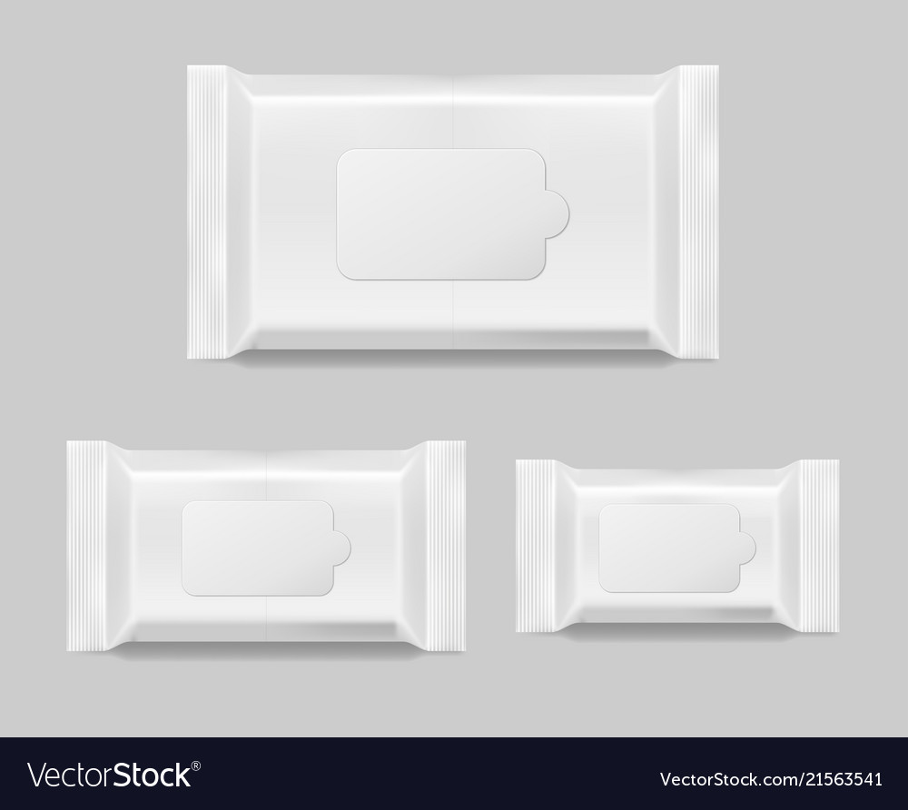 Set of wet wipes napkins template isolated white