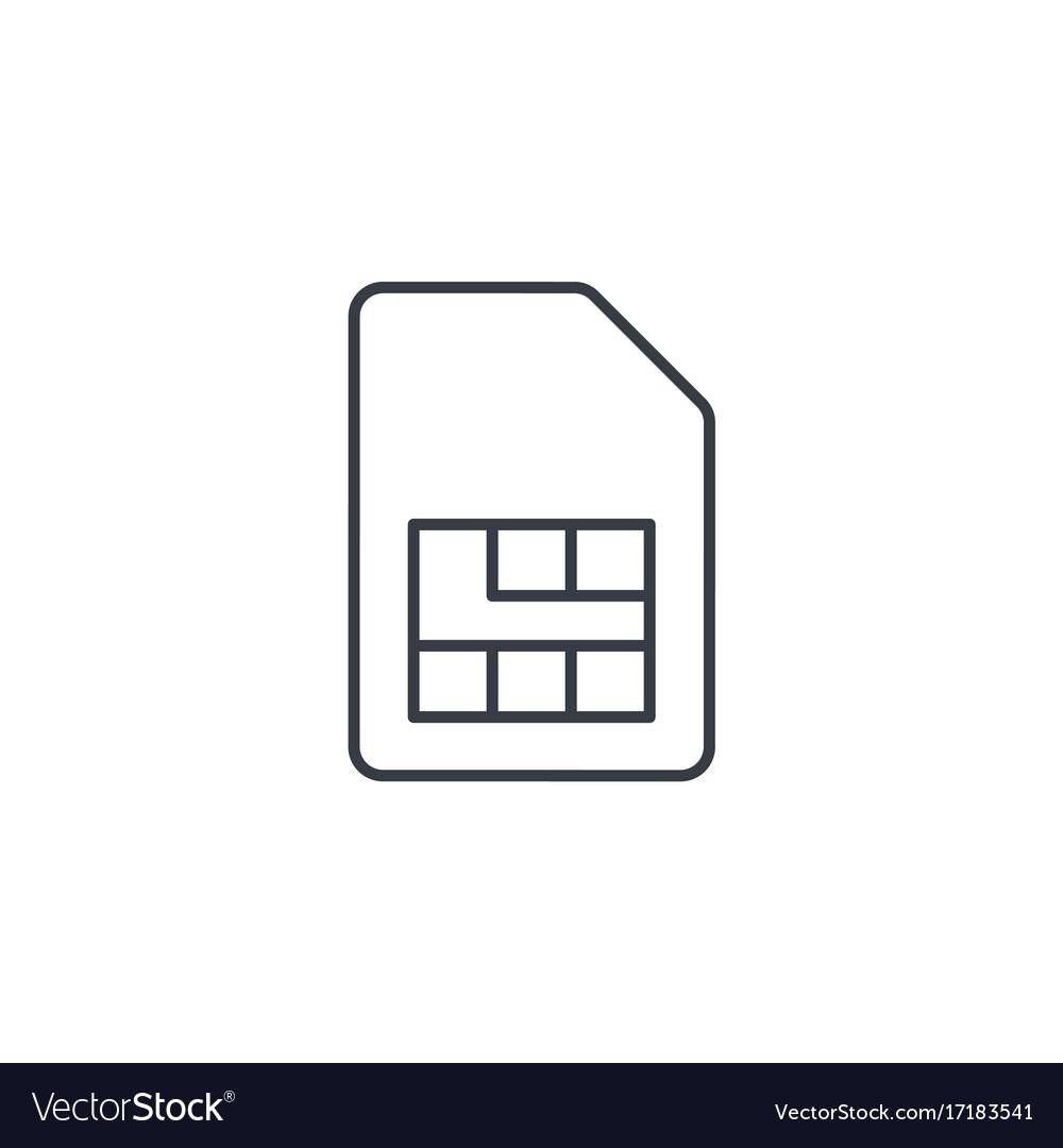 Sim card thin line icon linear symbol