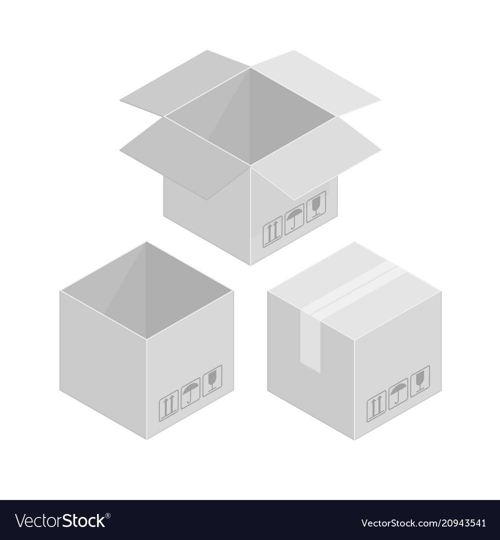 Square cardboard box vector image