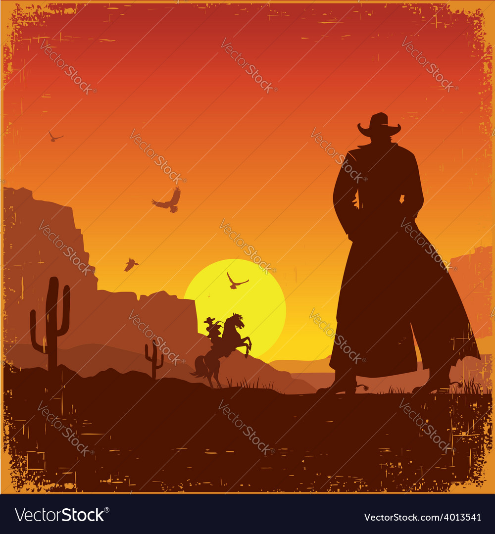 Wild West american landscape western poster vector image