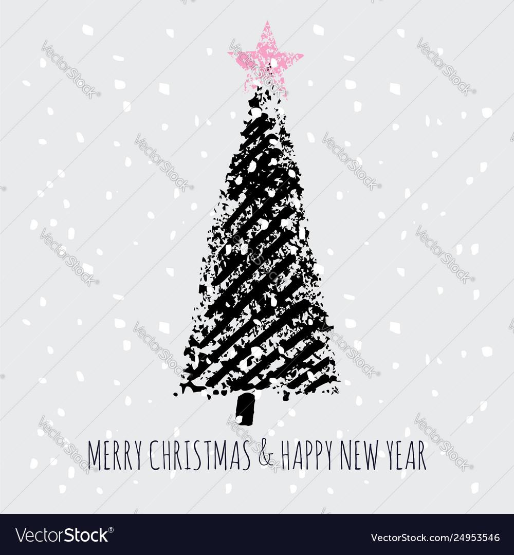 Christmas tree stamp snow slogan merry christmas