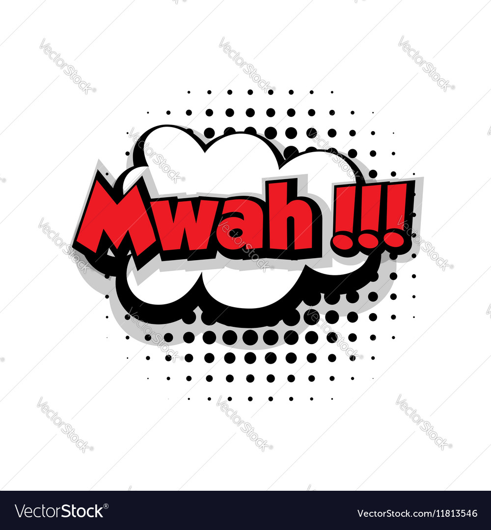 Comic text mwah sound effects pop art vector image