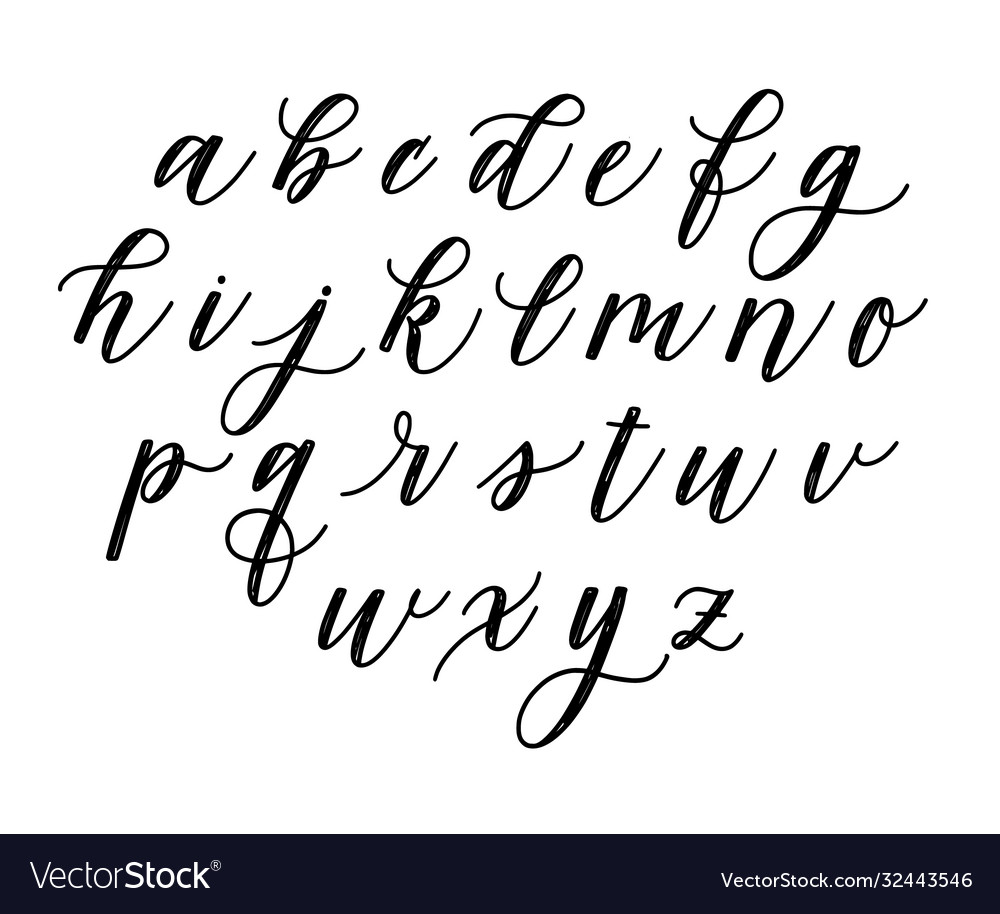 Cute hand-drawn faux calligraphy doodle alphabet