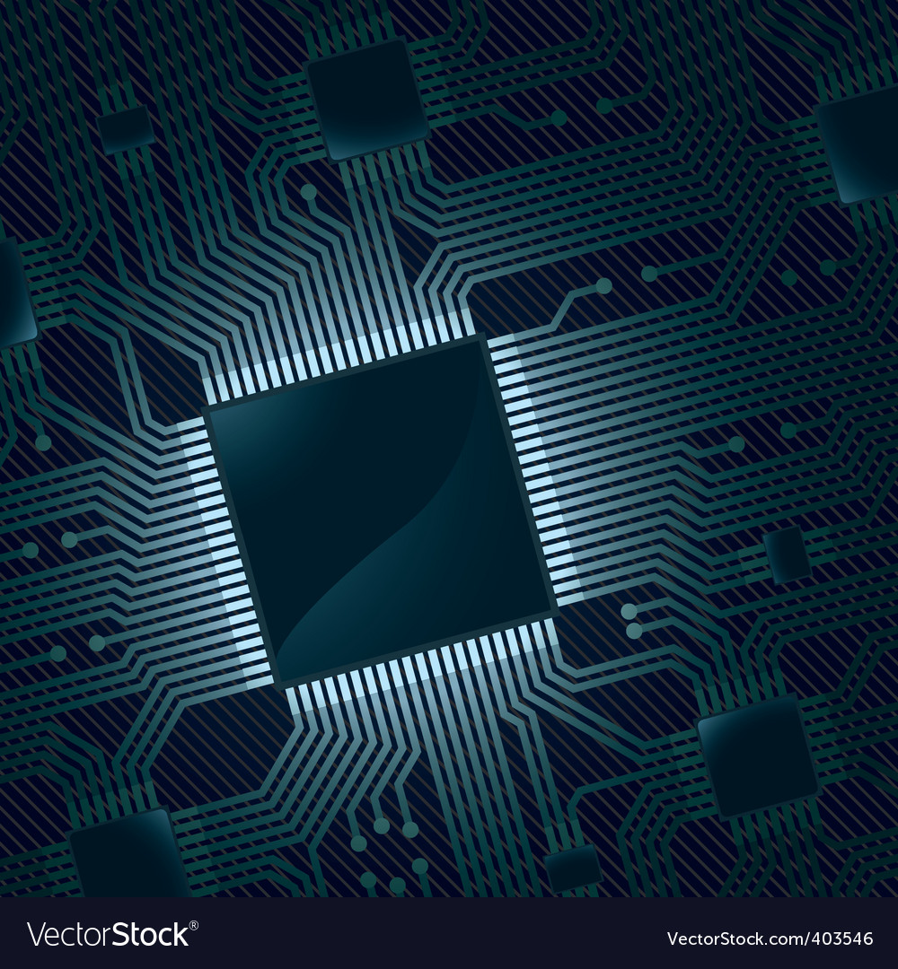 Electronic Circuit Board With Chip Royalty Free Vector Image