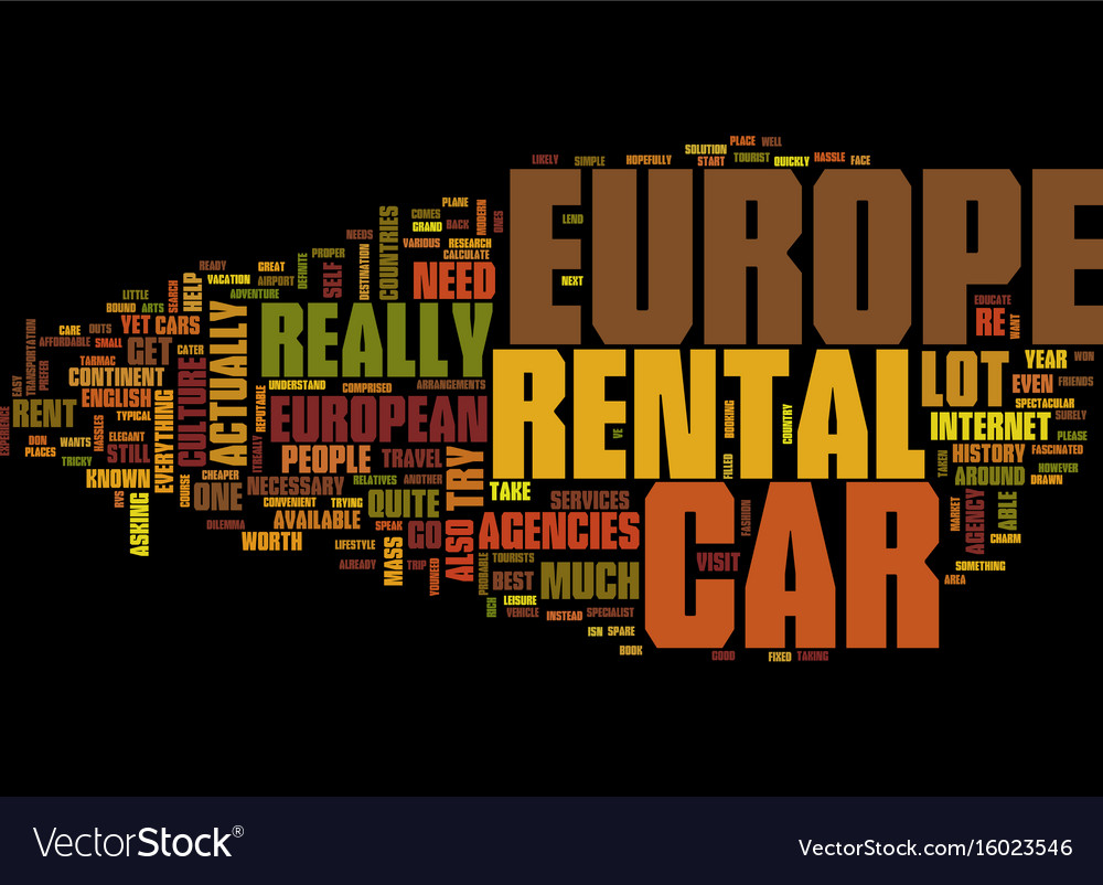 Europe Car Rental Text Background Word Cloud Vector Image