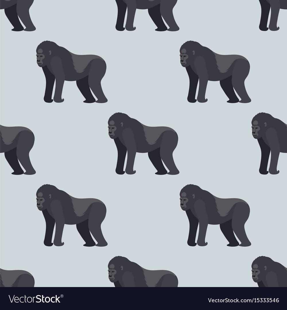 Gorila monkey rare animal seamless pattern vector image