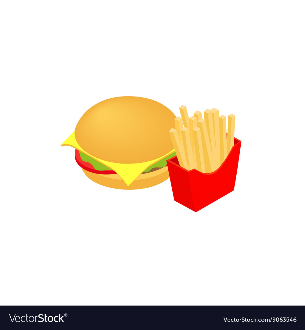 Hamburger and fries icon isometric 3d style