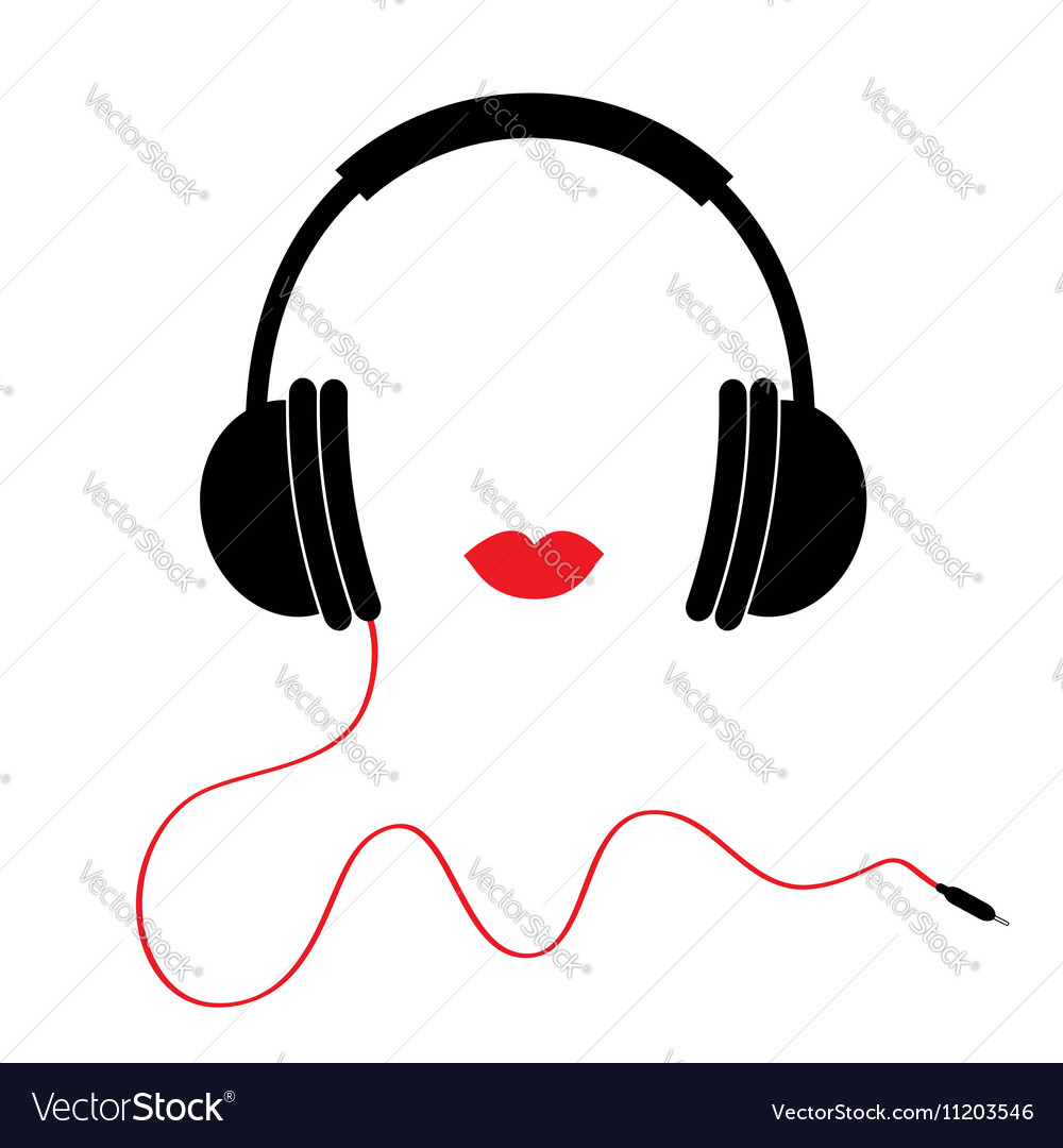 Headphones with red cord and lips Music card Flat