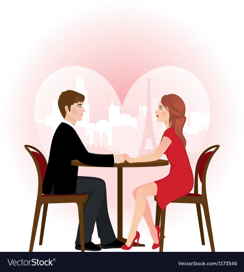 Loving couple on a date in the cafe vector image