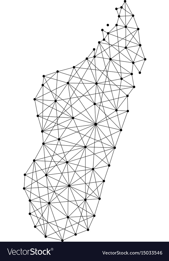 Map of madagascar from polygonal black lines and vector image
