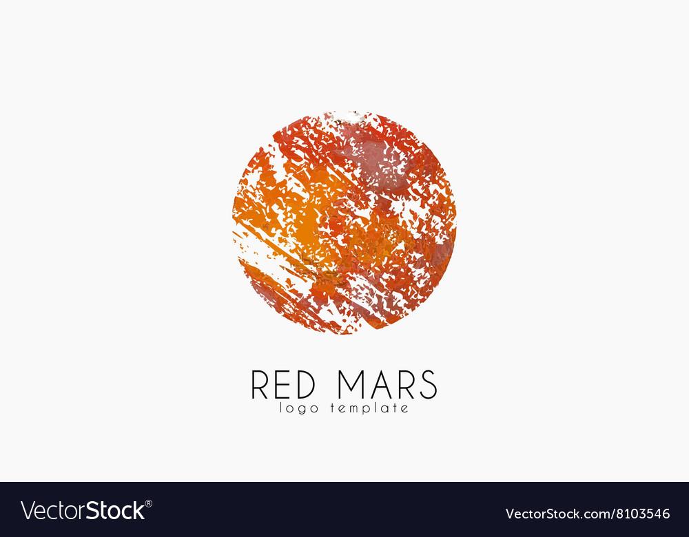 Mars logo Red mars logo Planet logo Red planet vector image