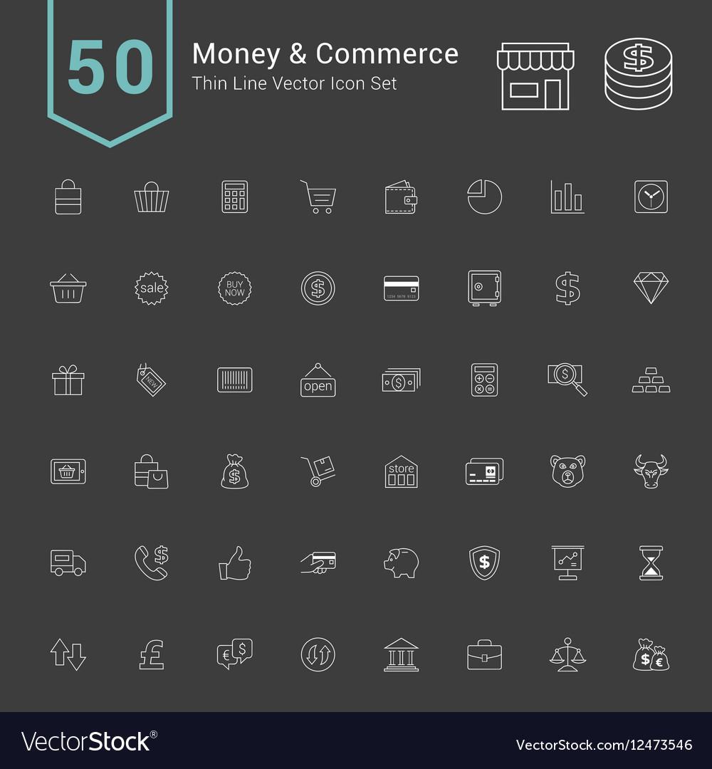 Money and Commerce Thin Icon Set