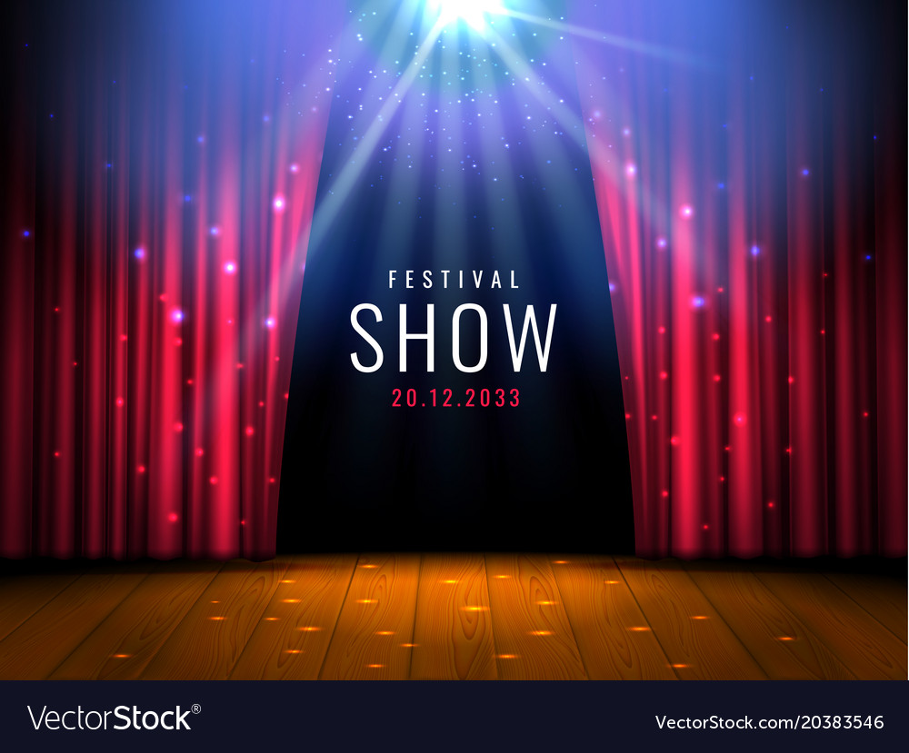Theater wooden stage with red curtain and Vector Image
