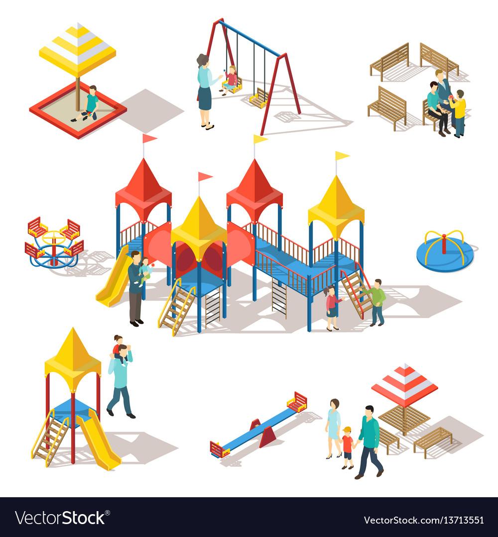 Colorful isometric playground elements set