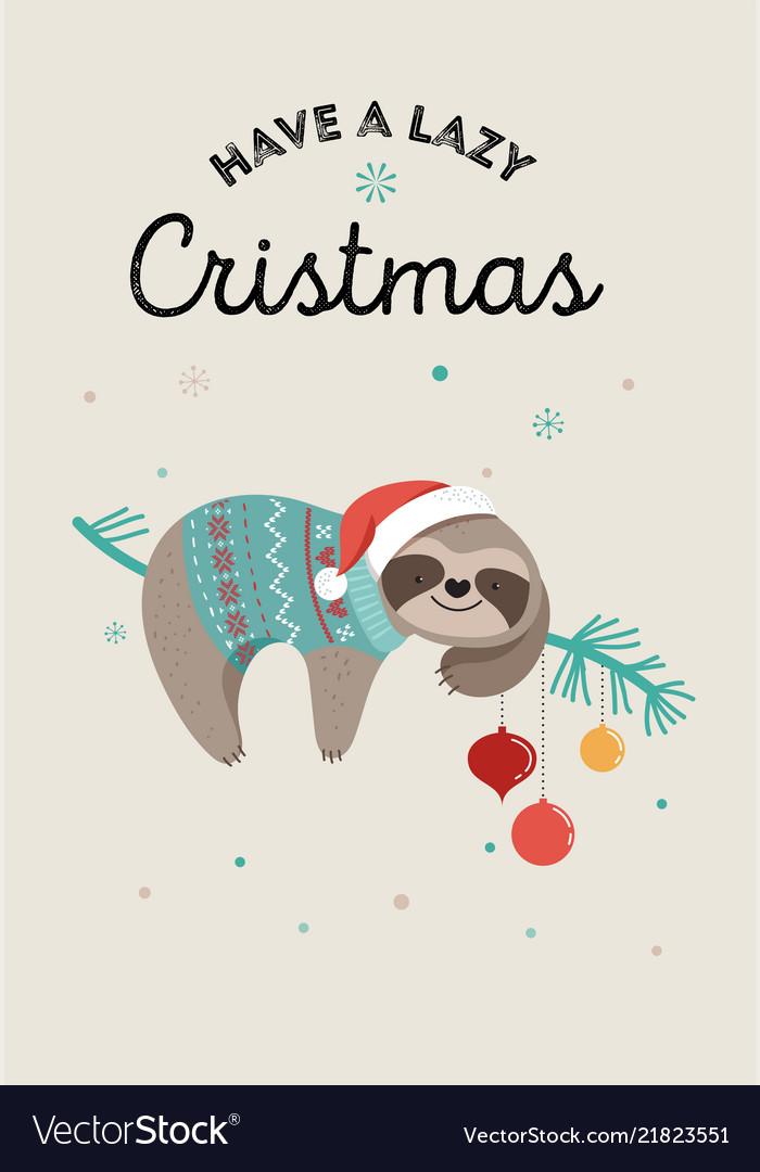 Christmas Sloth.Cute Sloths Funny Christmas With Vector Image
