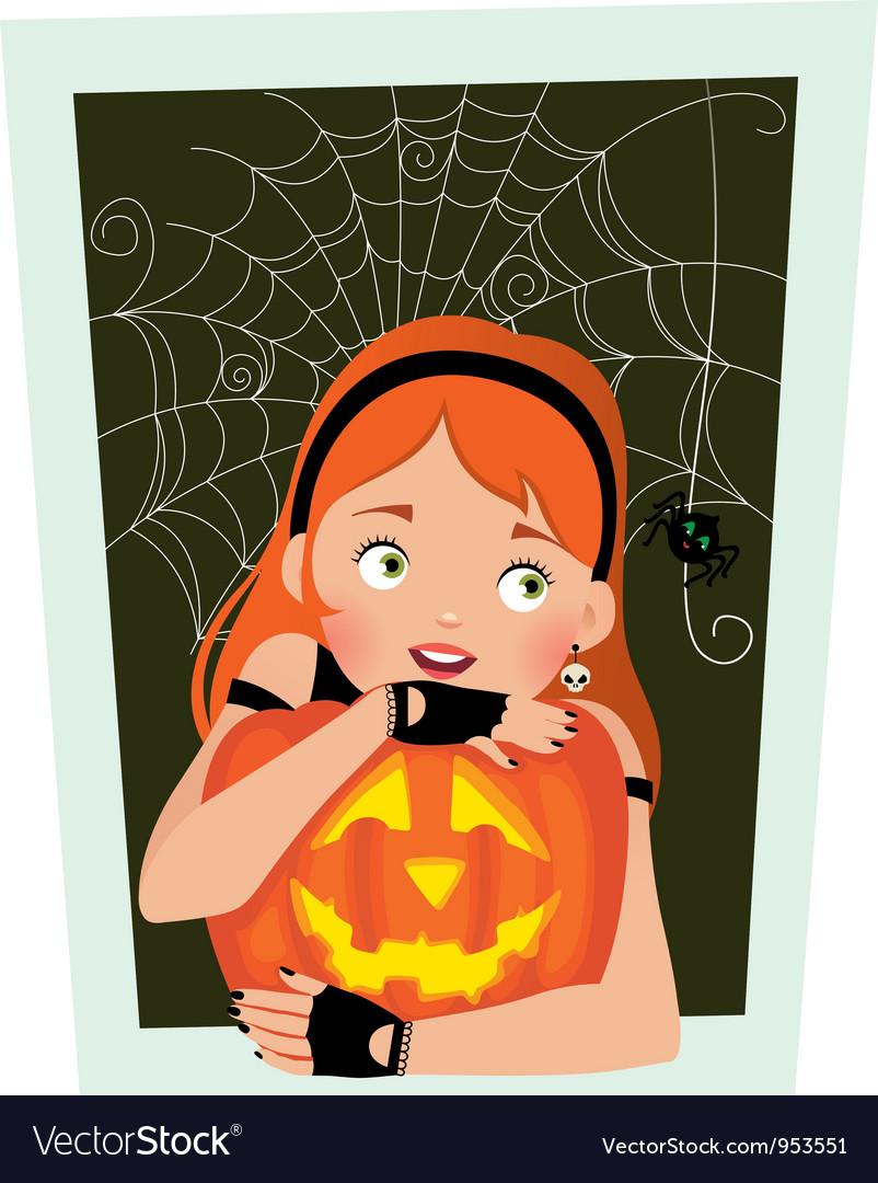 Girl with pumpkin Halloween