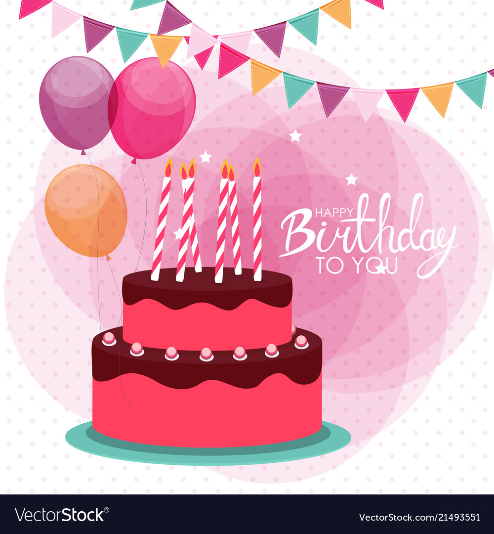 Happy birthday poster background with cake