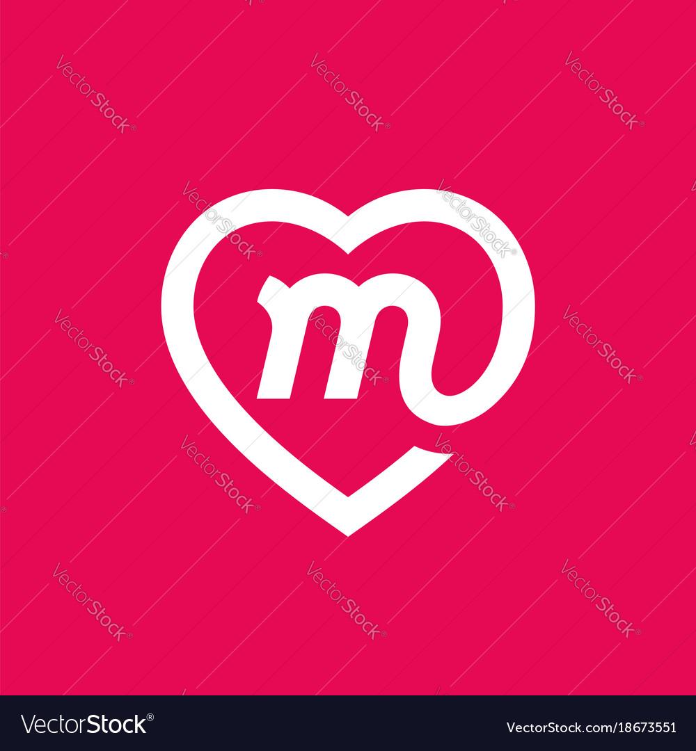 letter m heart logo icon design template elements vector image
