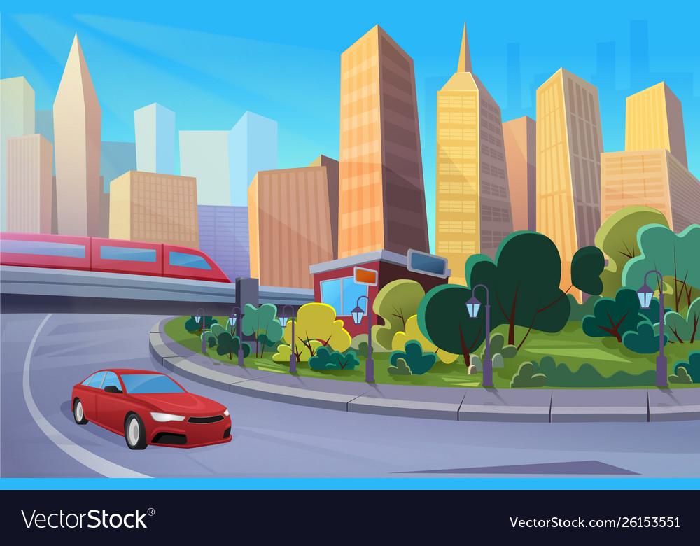 Modern highway cartoon cityscape flat