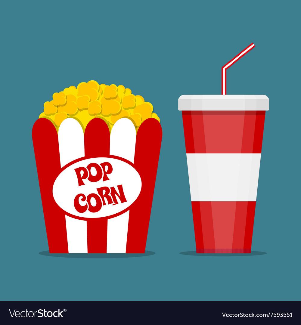 Popcorn box and soda glass vector image