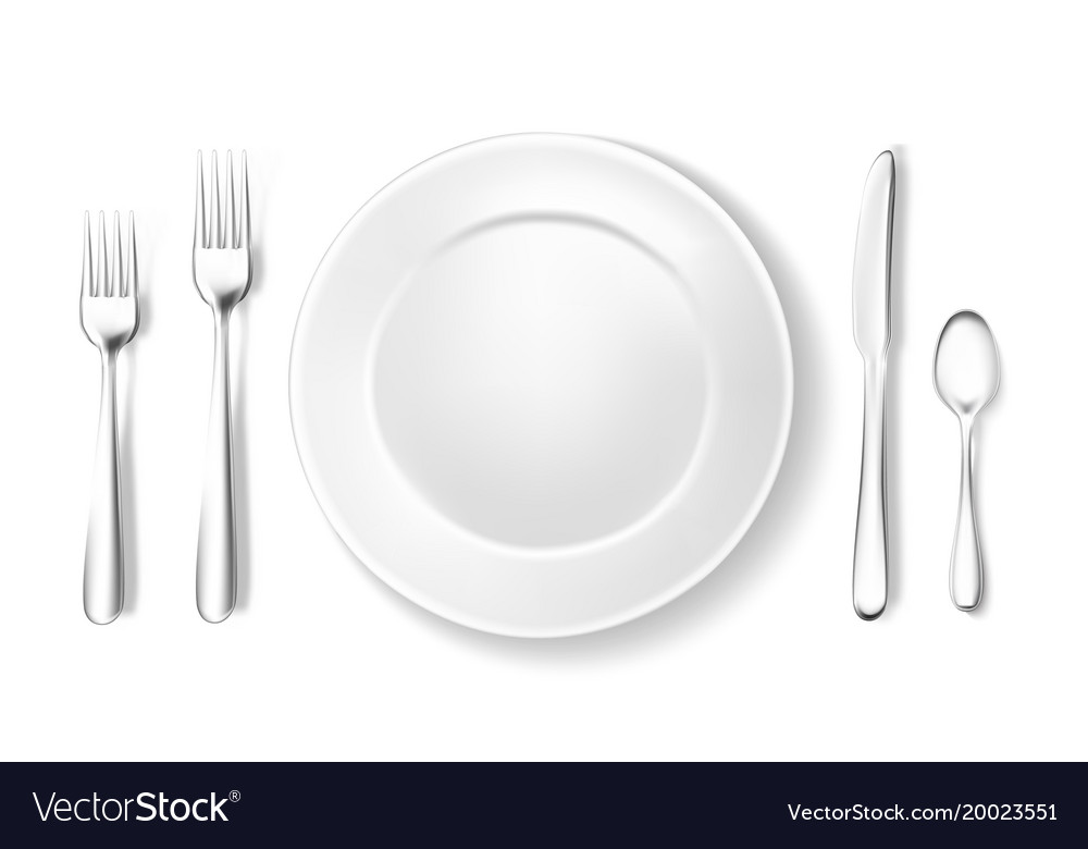Realistic table setting arrangement fork spoon Vector Image