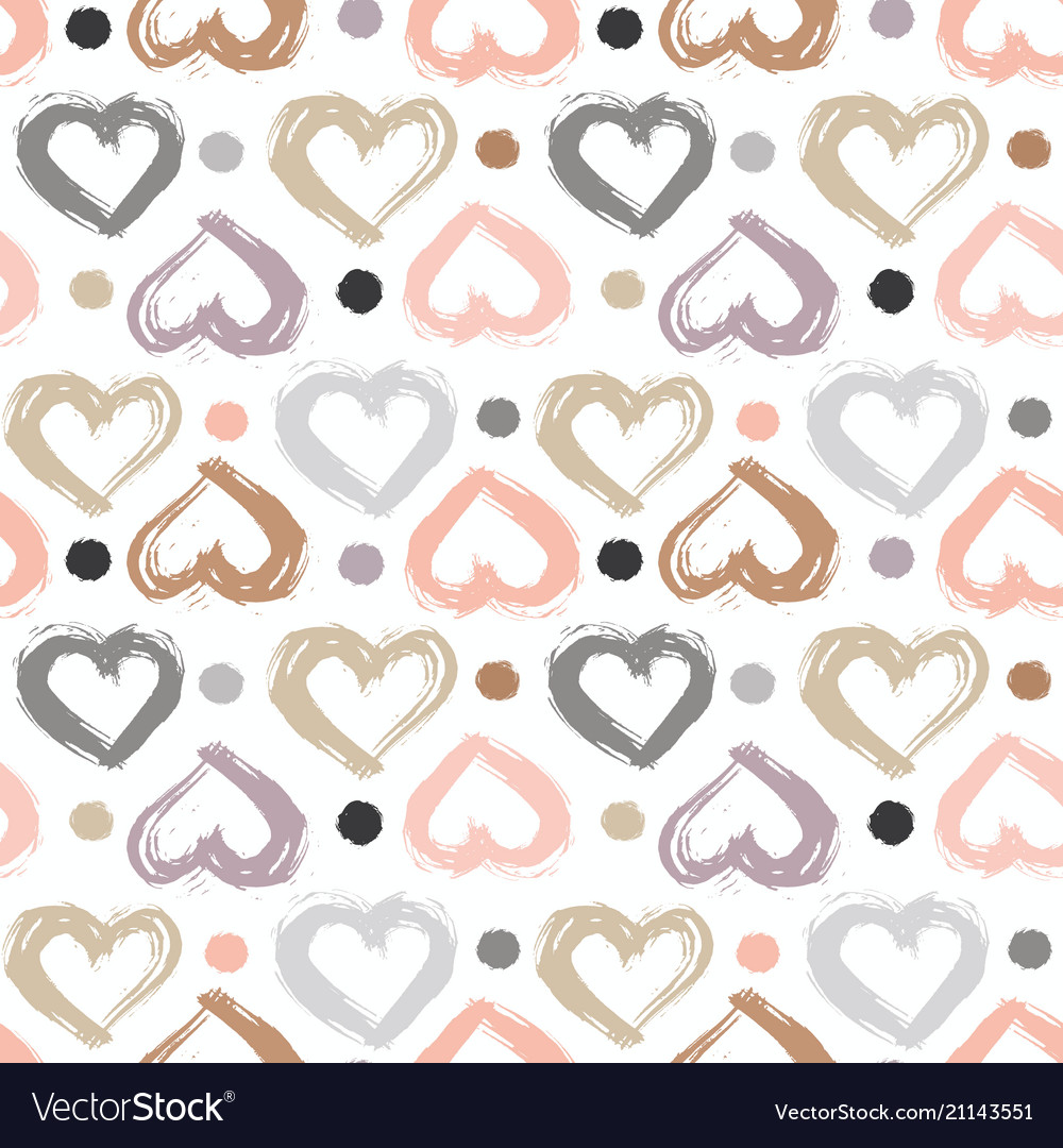 Seamless pattern with hand drawn heart hearts