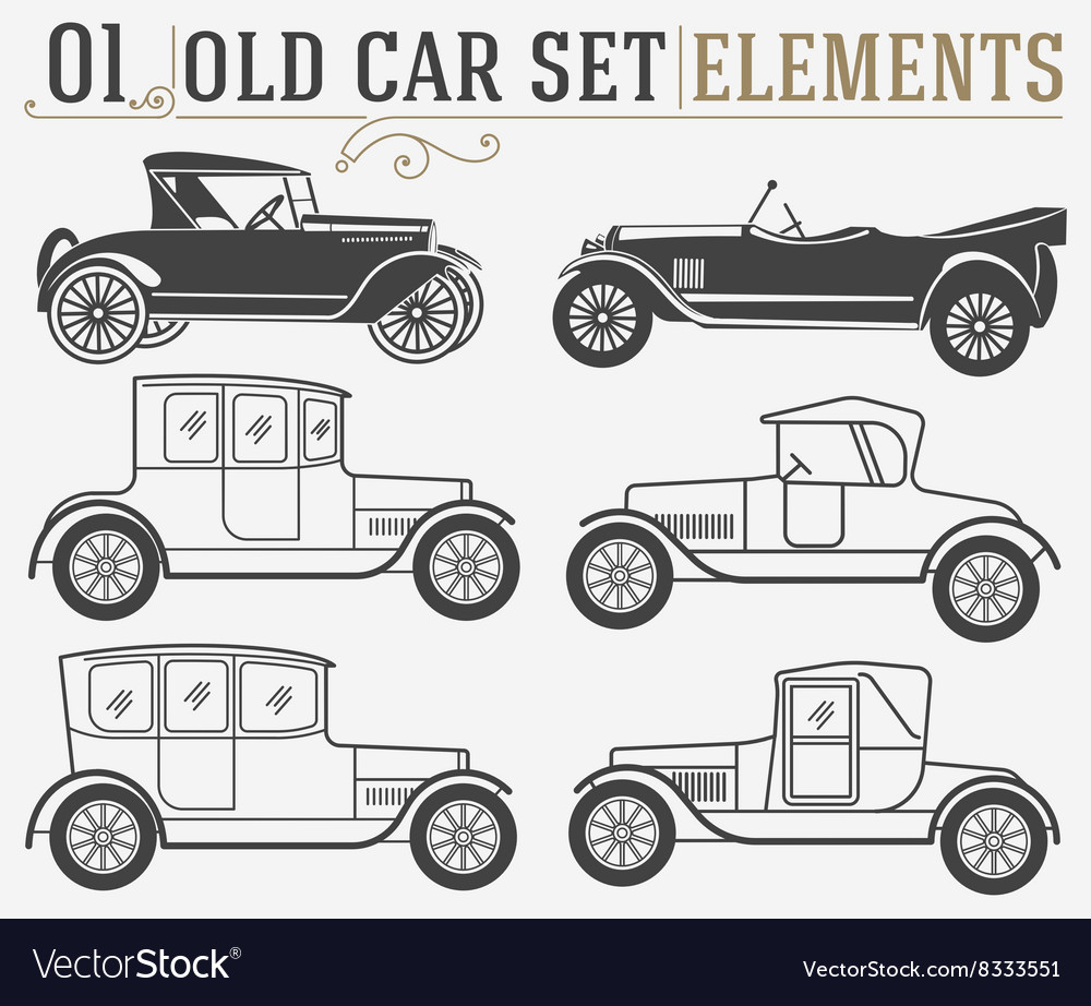 Set of the old isolated cars